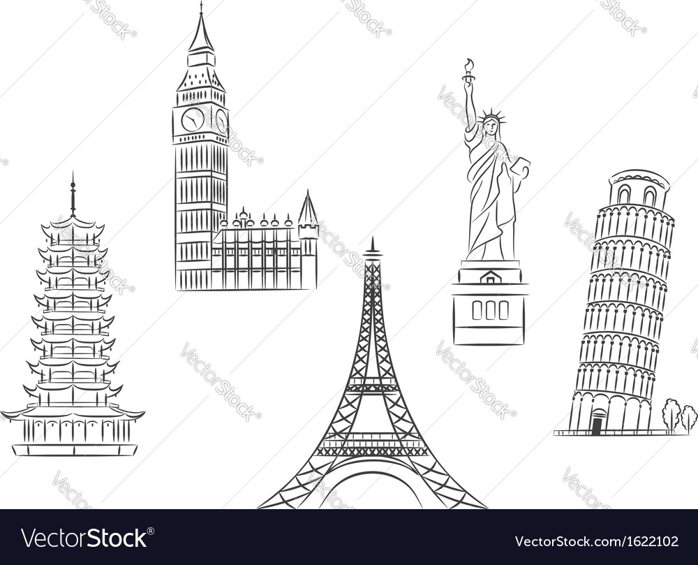 Travel landmarks set