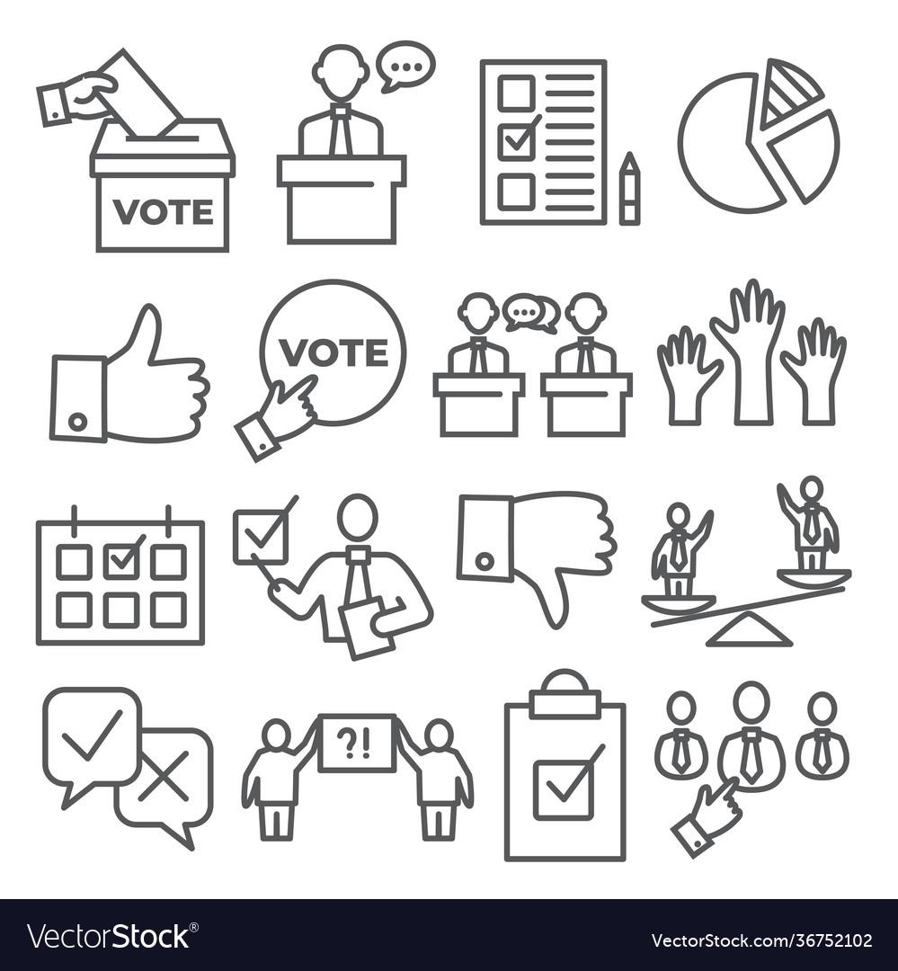 Vote line icons set on white background