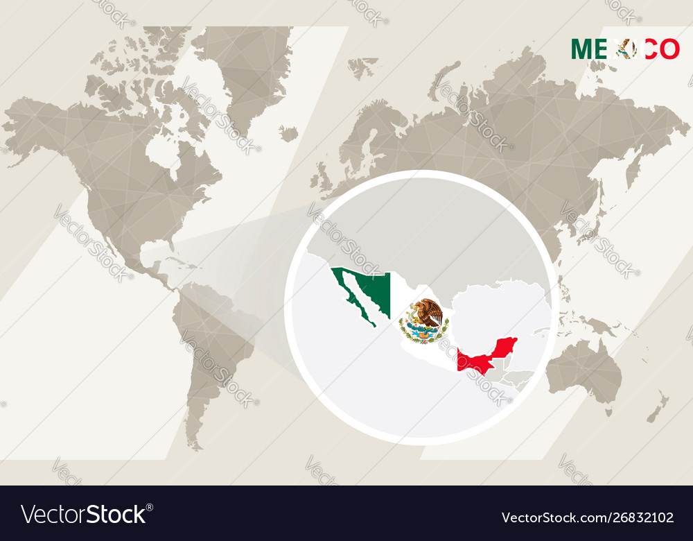 Zoom on mexico map and flag world map