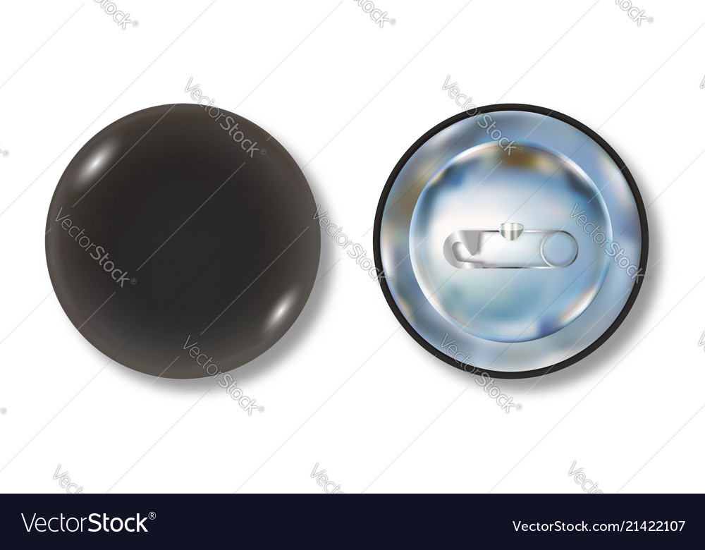 Black pin button front and back side