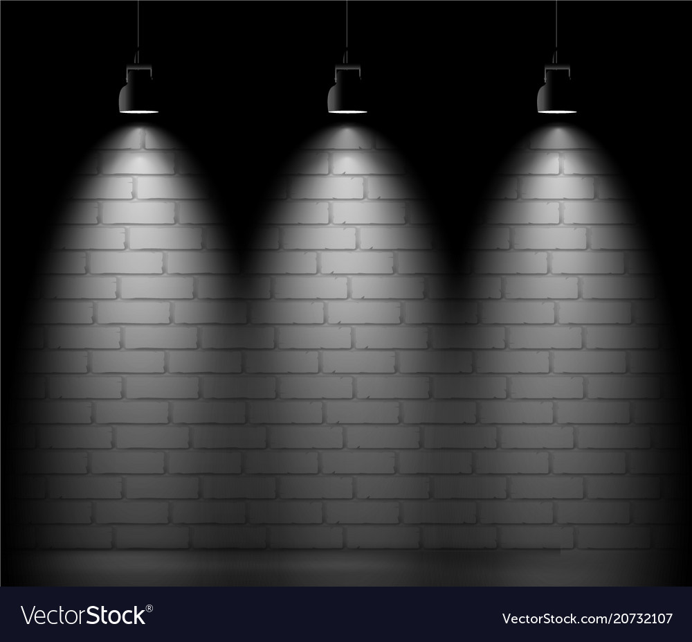 Brick wall background with three light spot