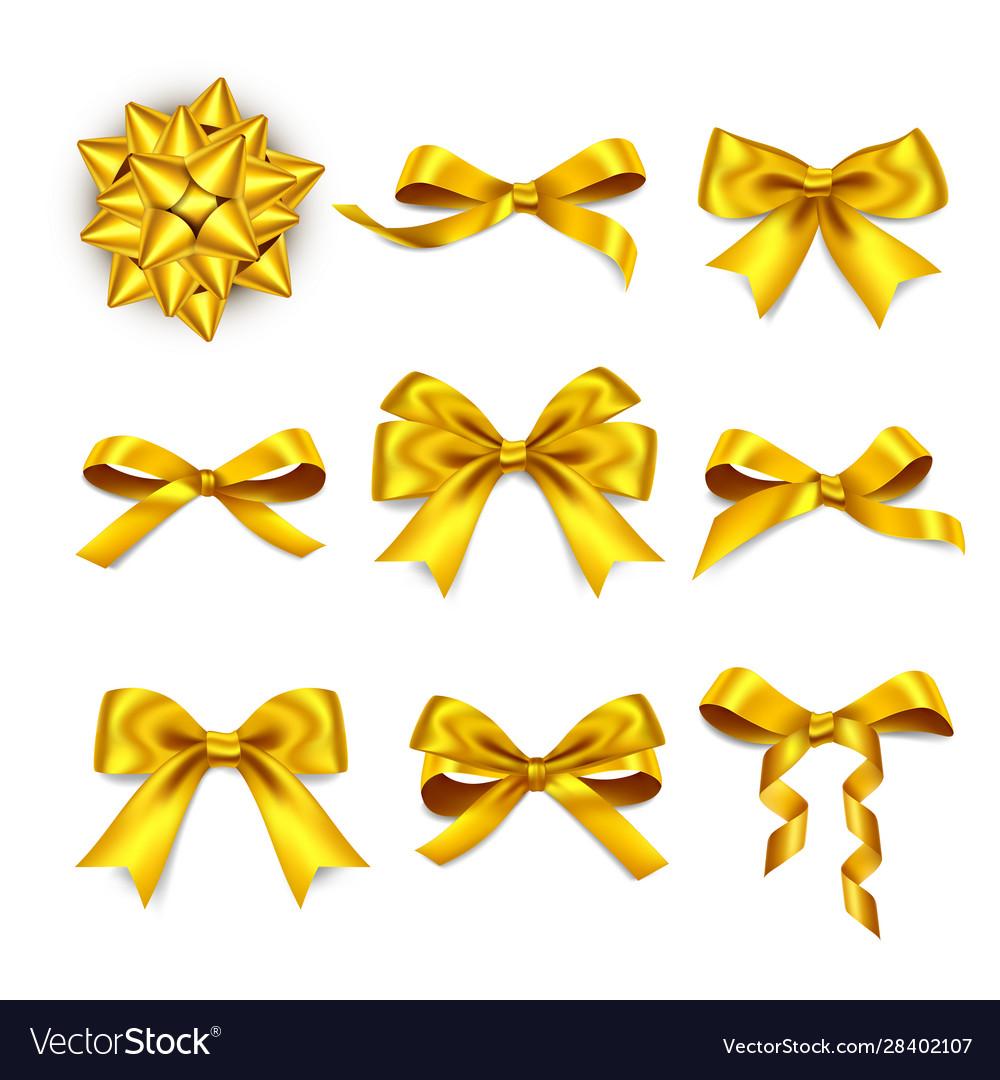 Gift box golden bows realistic golden silk ribbon