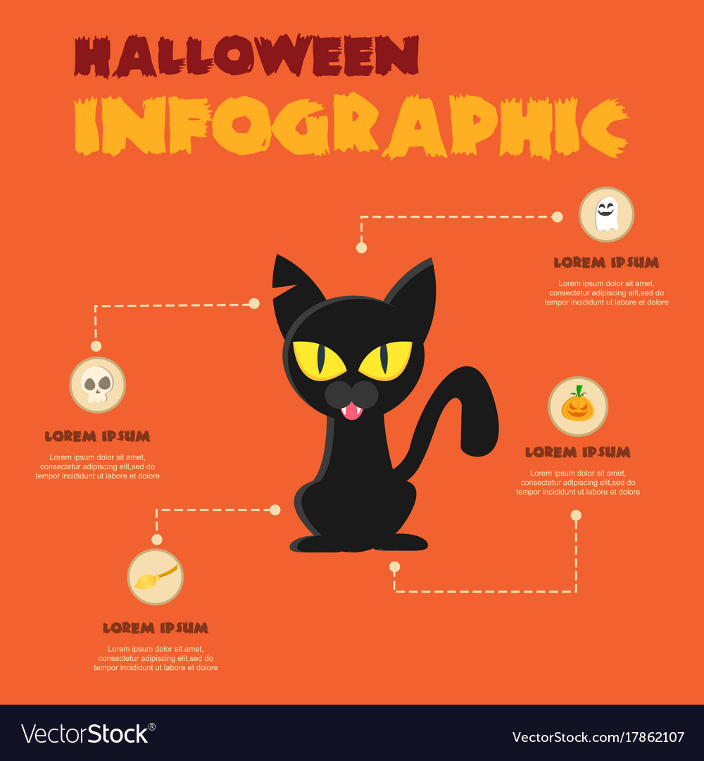 halloween theme infographic design collection vector image