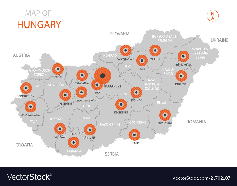 Hungary map with administrative divisions