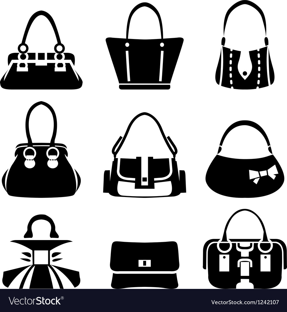 Icons of female bags vector image