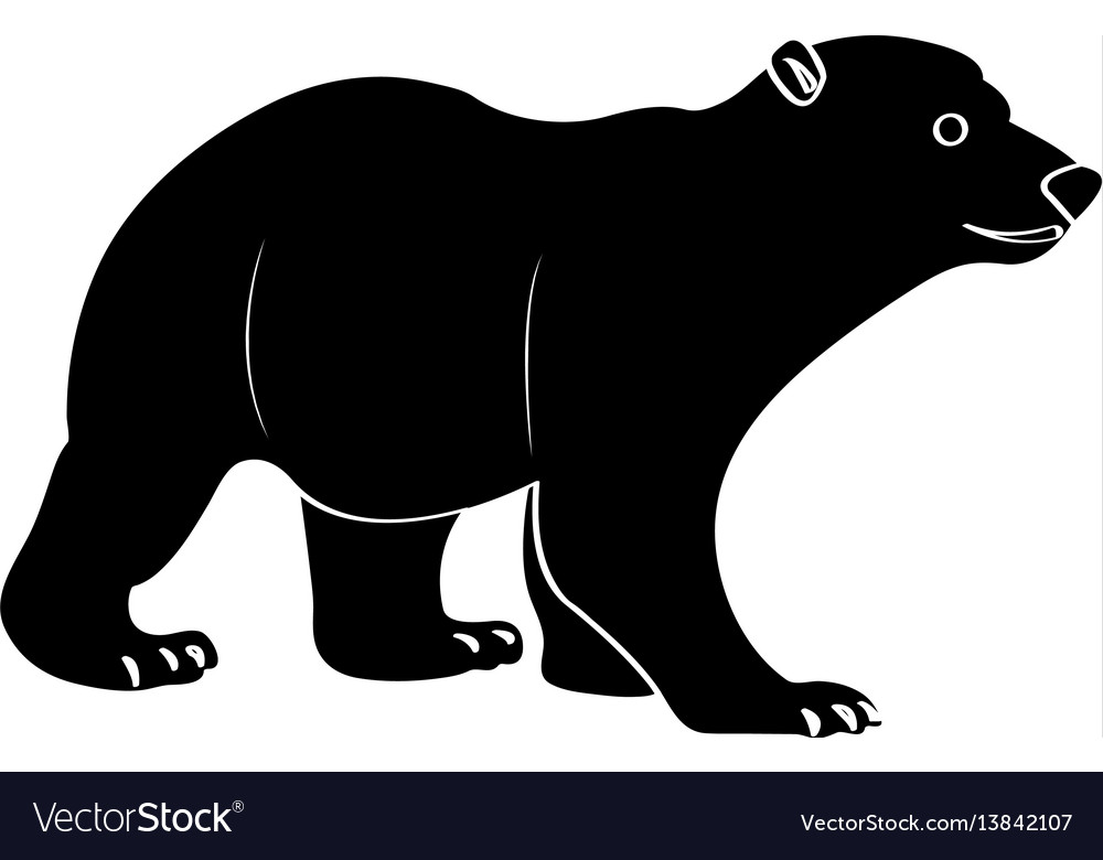 Isolated polar bear silhouette vector image