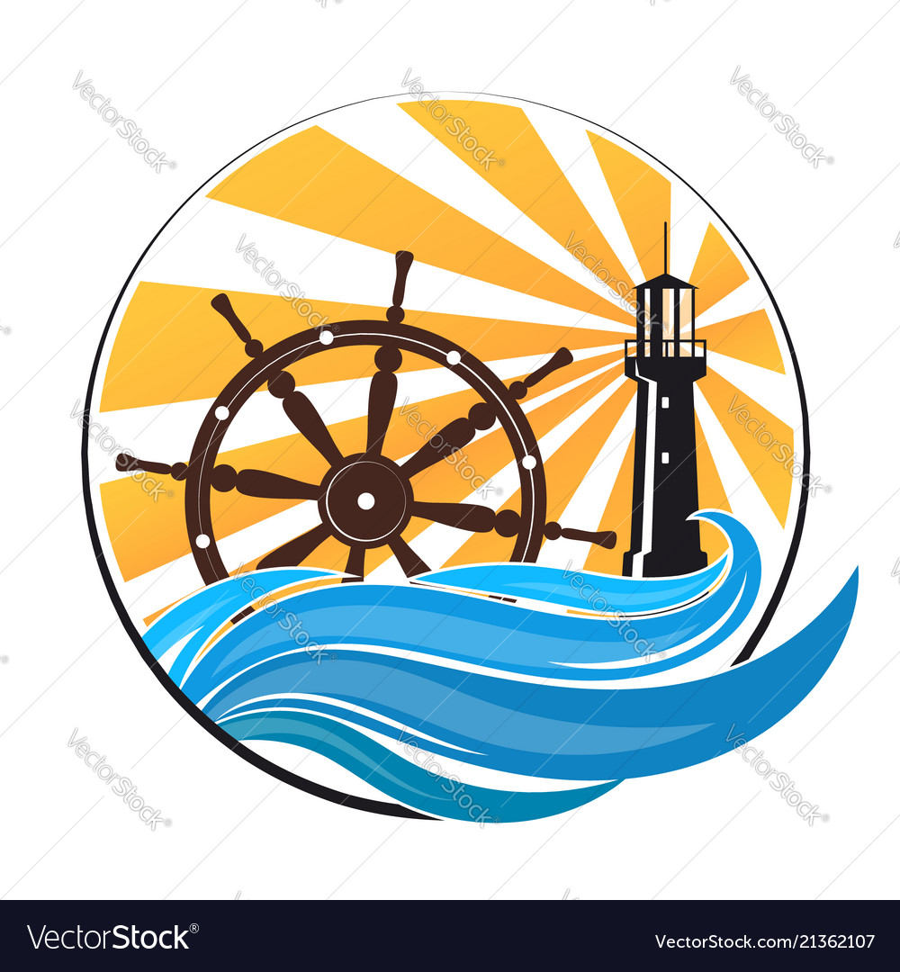 Lighthouse on the wave and the wheel