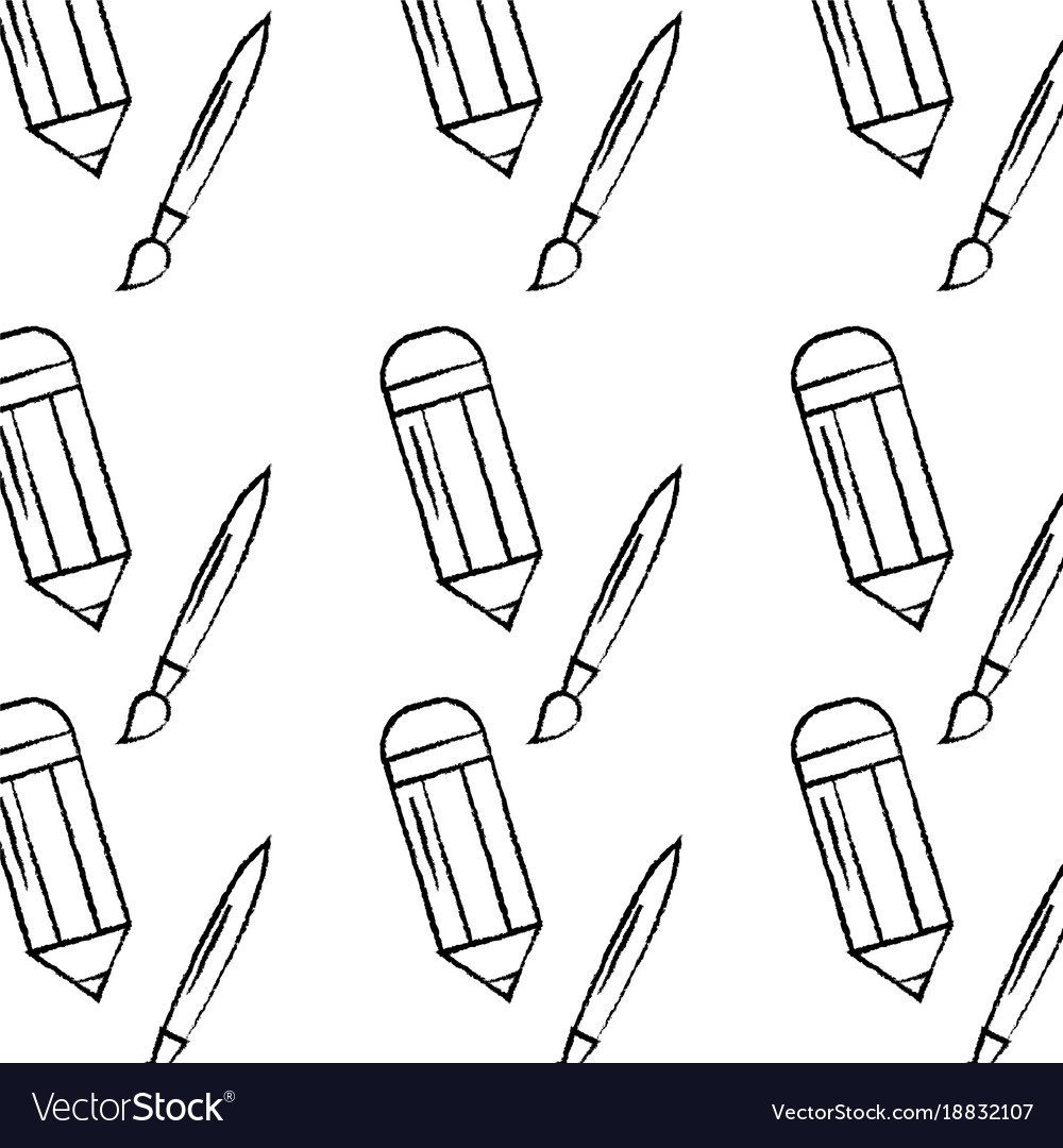 Pencil and paint brush school supplies pattern vector image
