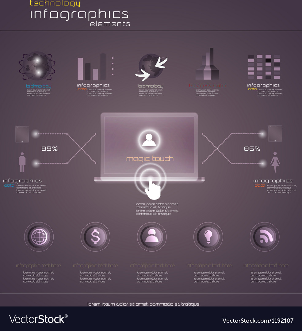 Purple infograph vector image