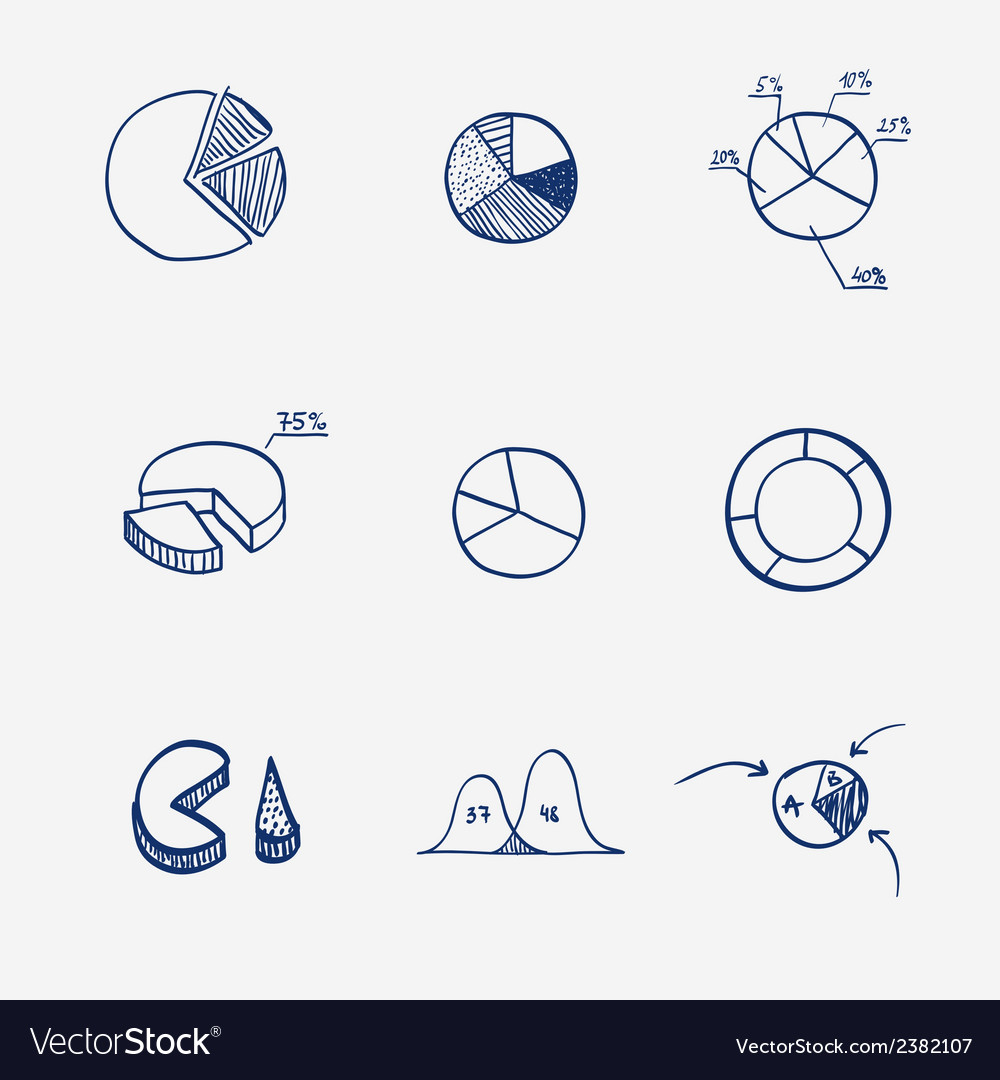 Set of circle chart diagram graph pie hand draw vector image ccuart Images