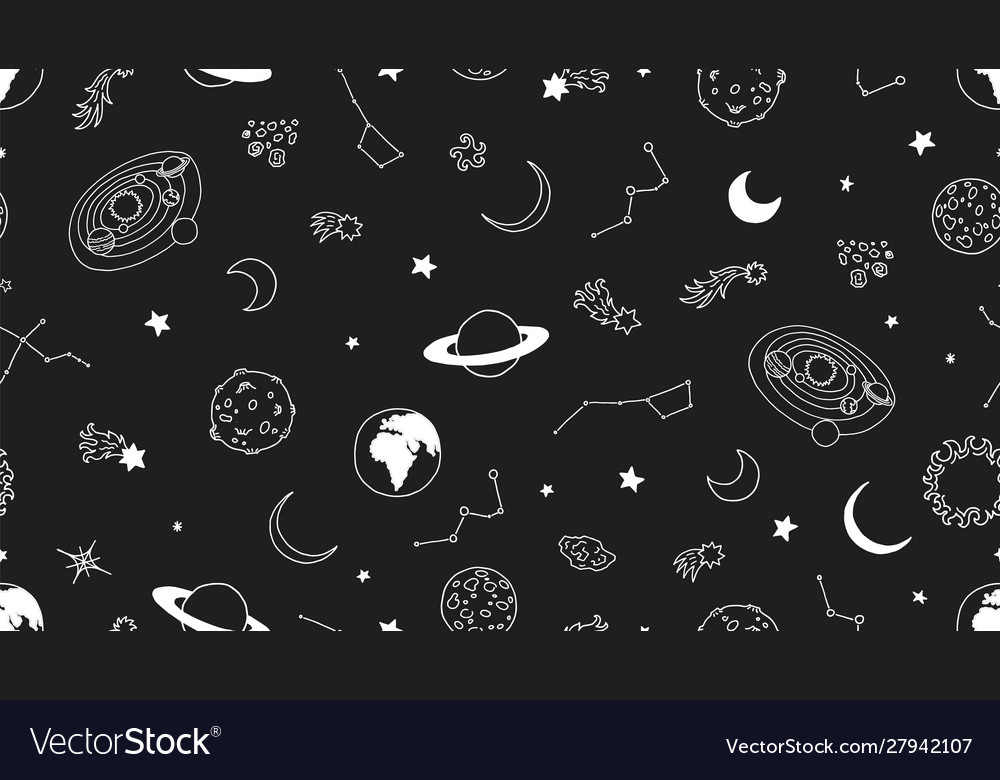 Space seamless pattern stars moon planets
