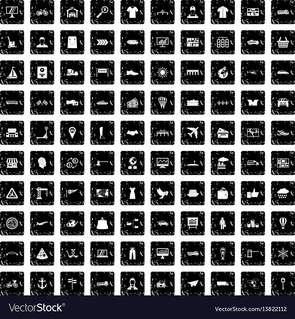 100 logistic and delivery icons set grunge style vector image
