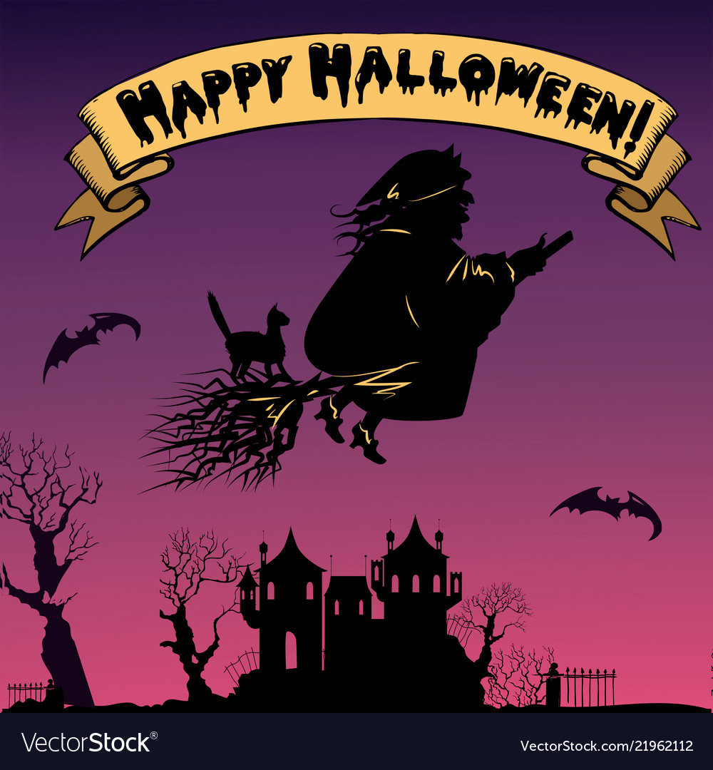 Background with flying old witch silhouette
