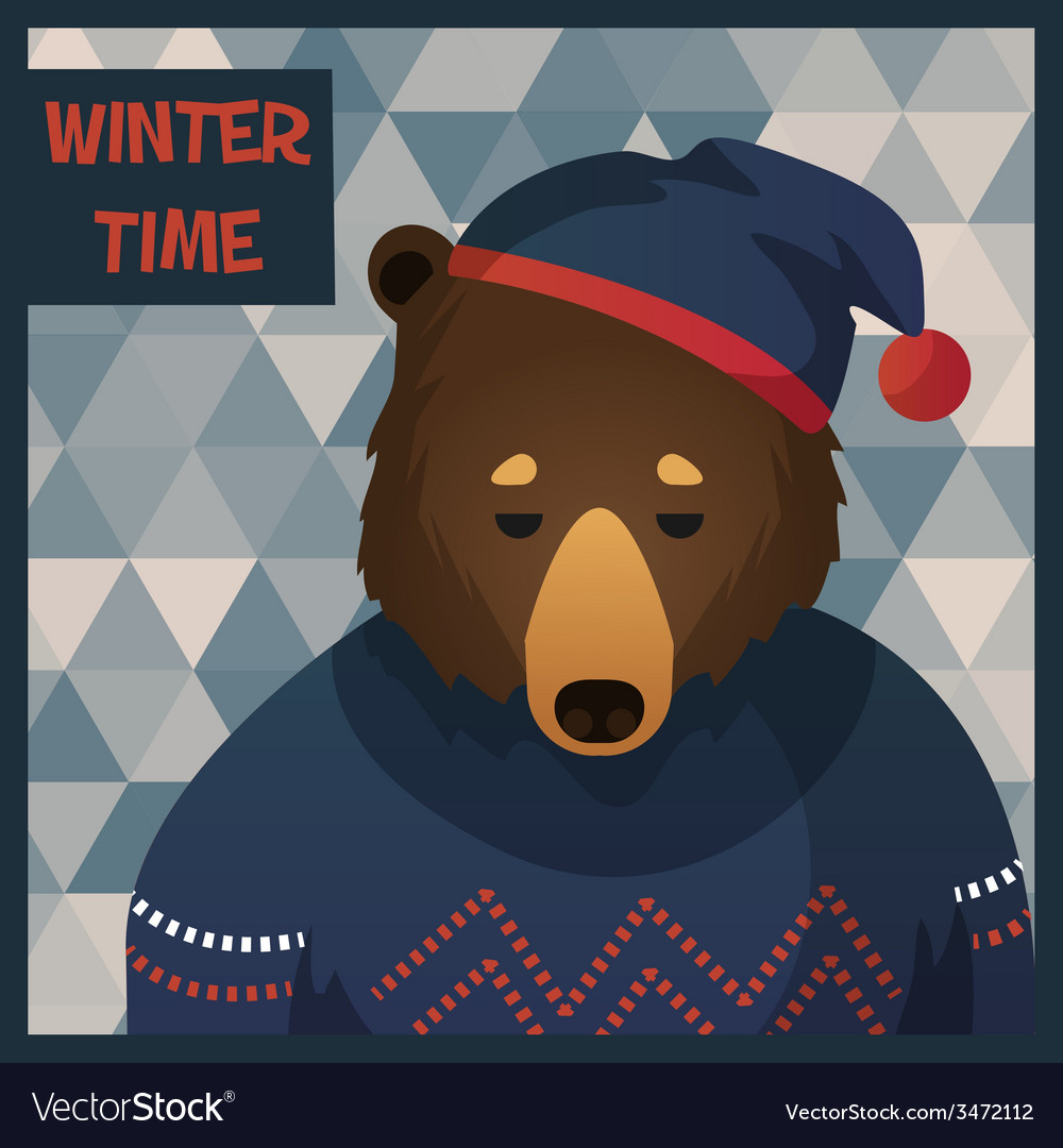 Big brown hipster bear in sweater