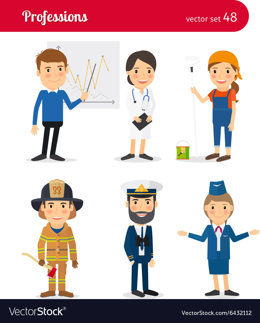 Businessman MD female worker and firefighter vector image