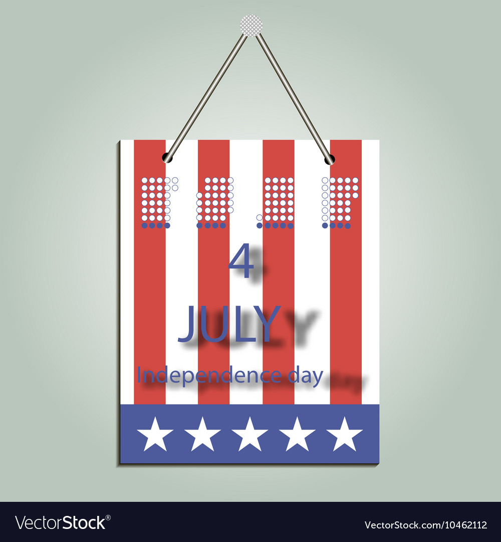 Calendar for Independence Day vector image