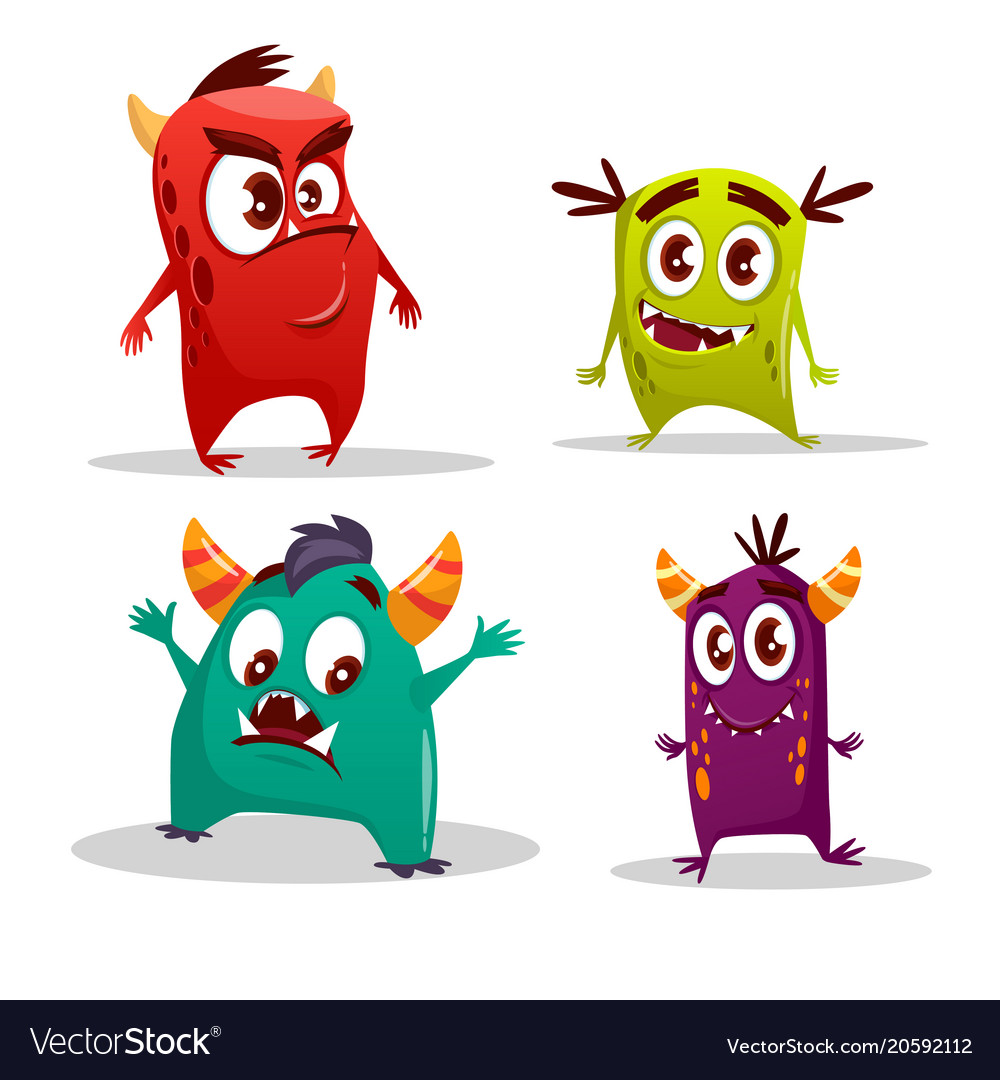 Cartoon cute cheerful monster set