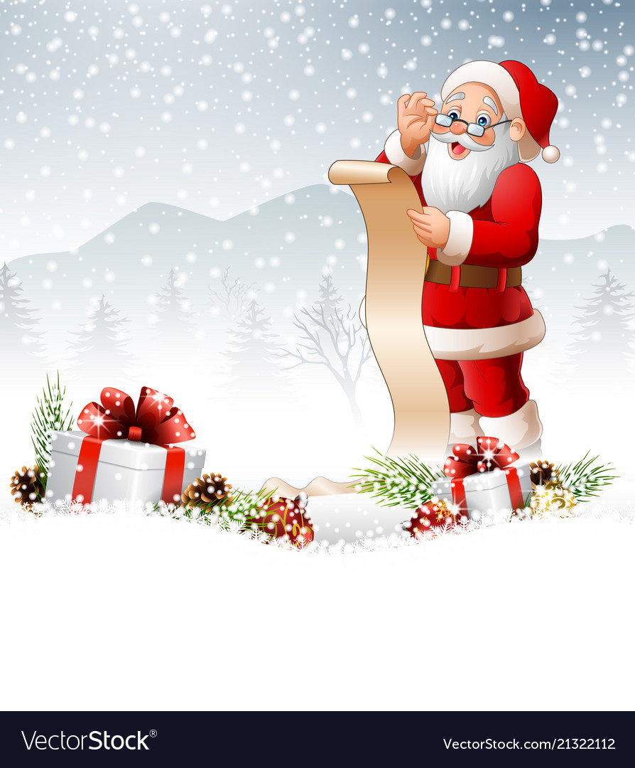 christmas background with santa claus reading a lo