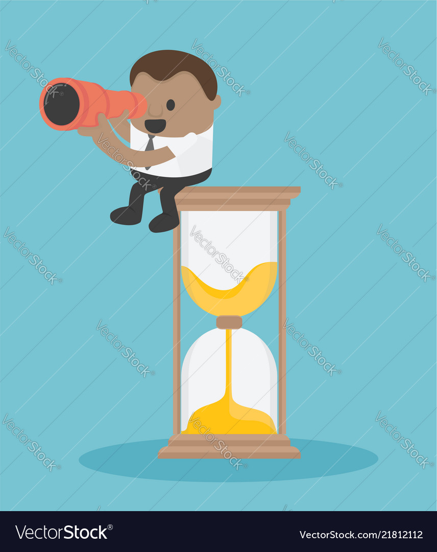 Concept business sitting on a clock with a