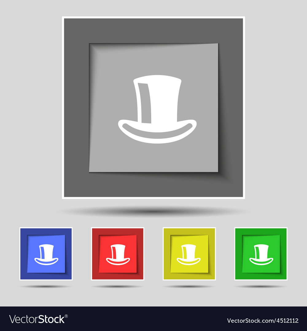 Cylinder hat icon sign on the original five vector image
