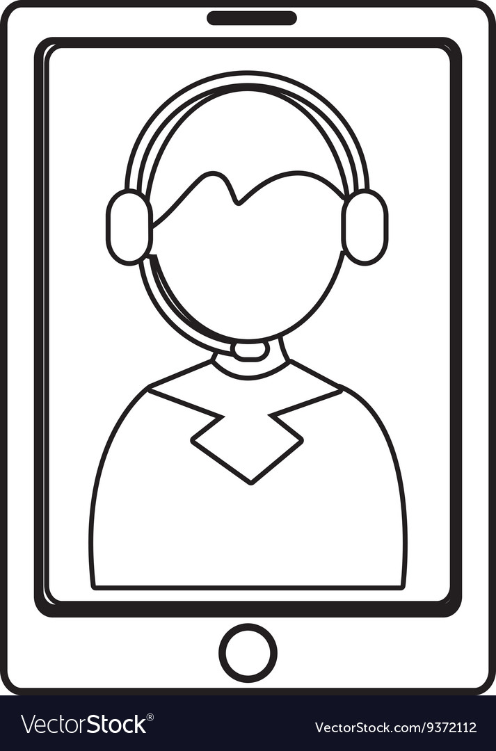Electronic device with avatar man on the screen vector image