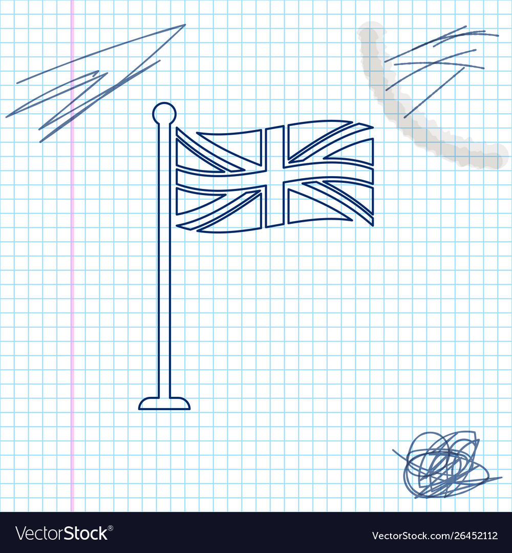 Flag great britain on flagpole line sketch icon