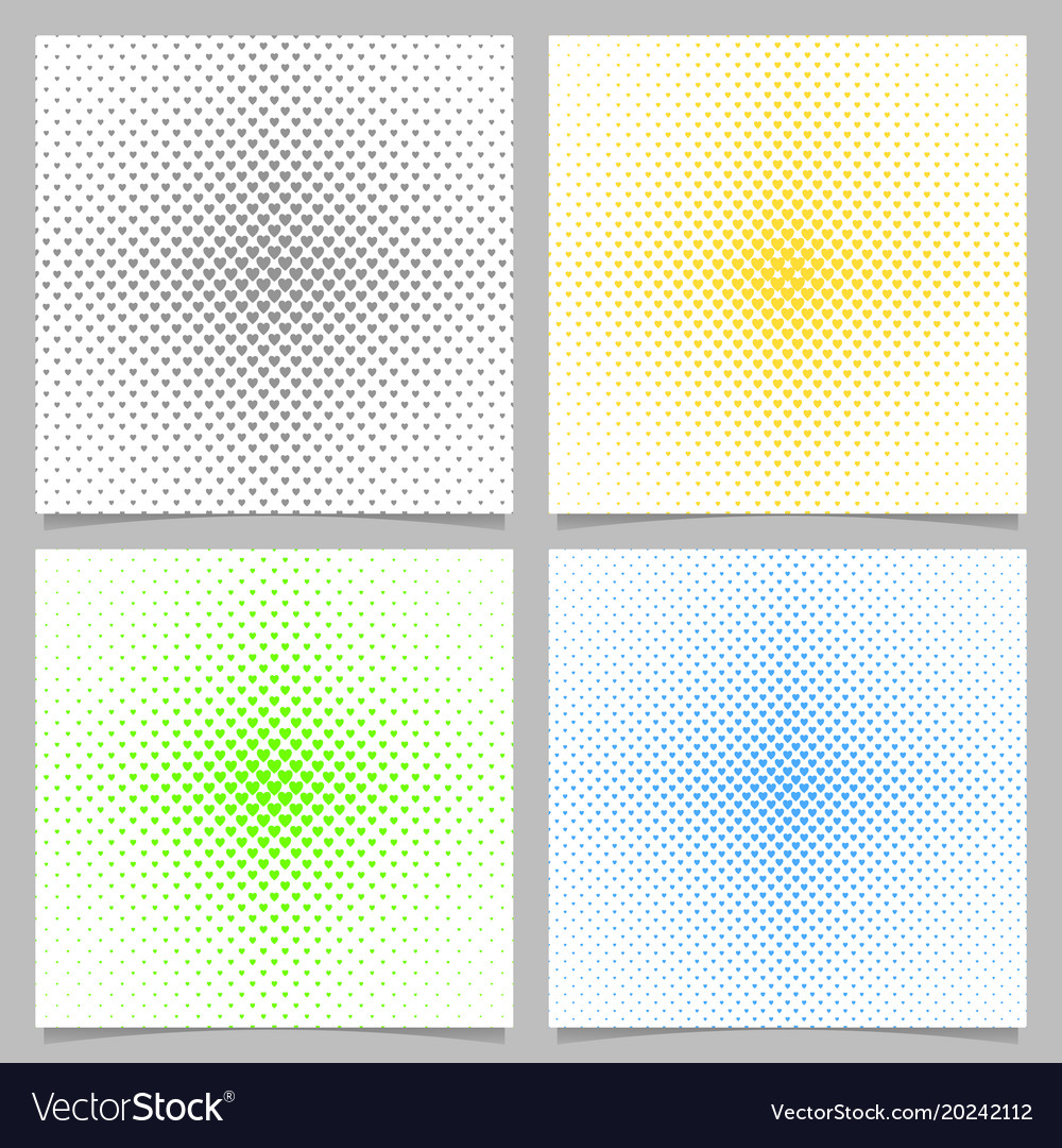 Halftone heart pattern background set - love