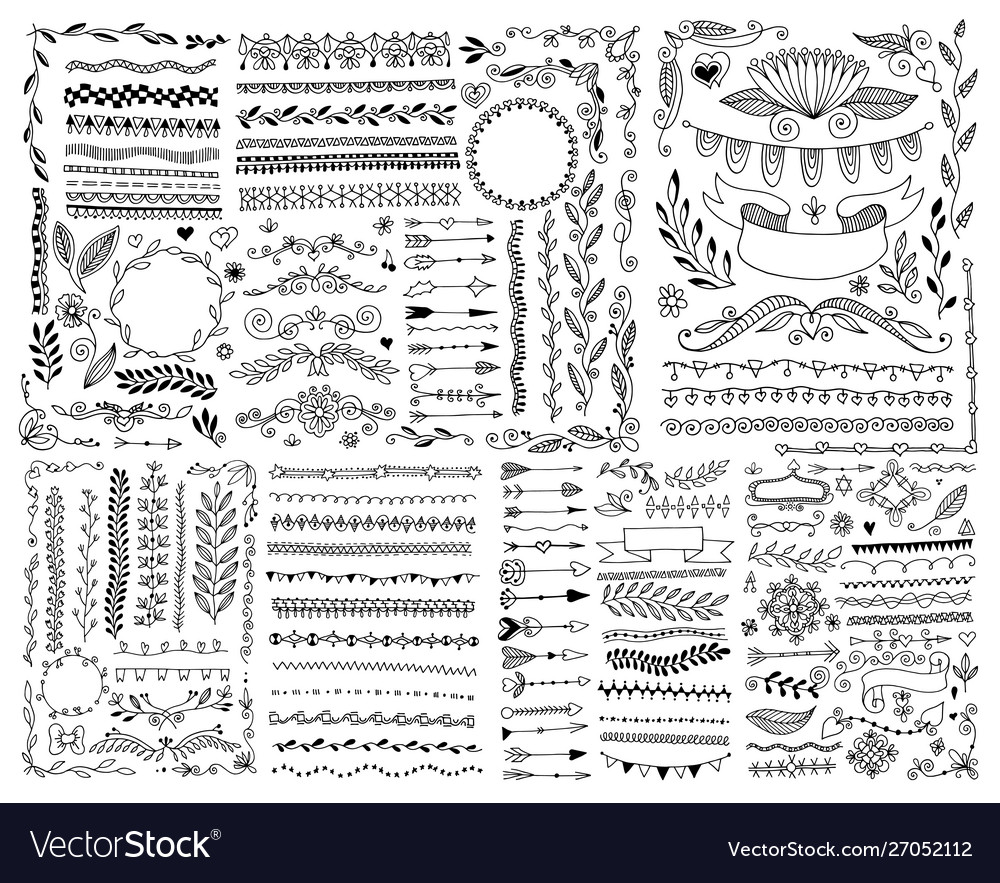 Hand drawing doodle page decoration set of