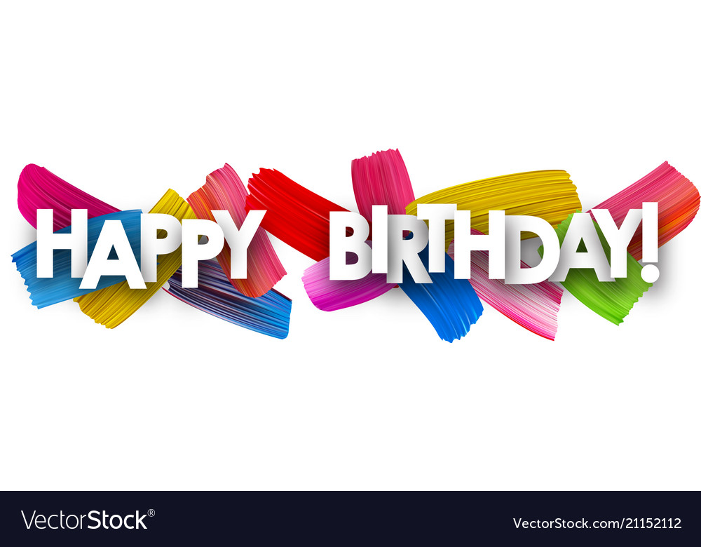 happy birthday banner with brush strokes vector image