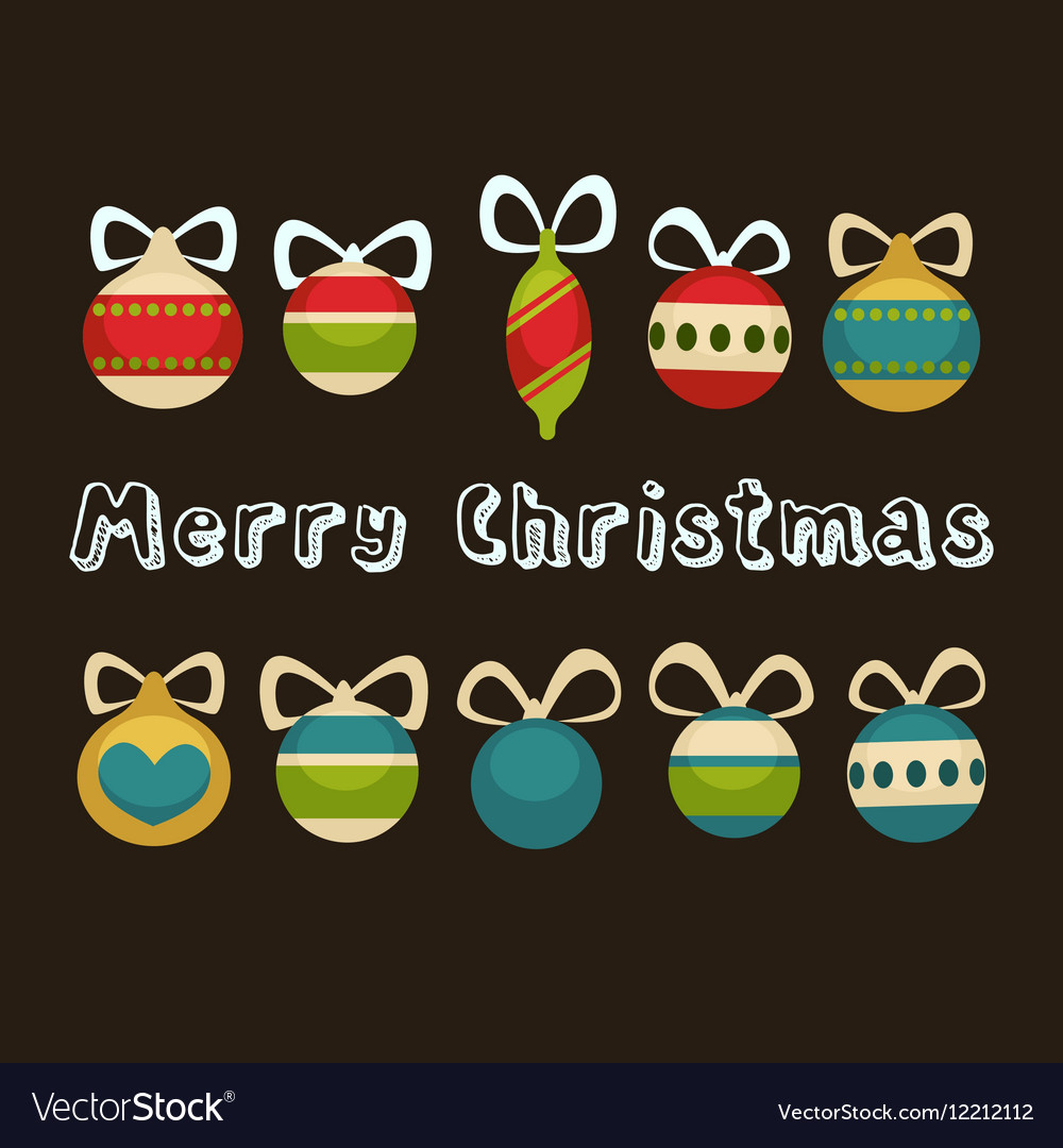 Merry Christmas greeting card Holiday decorations