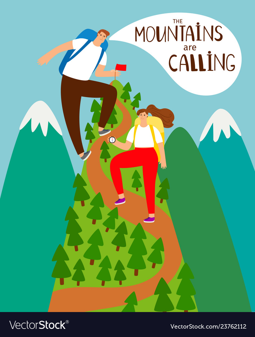 Mountains climbing cartoon people