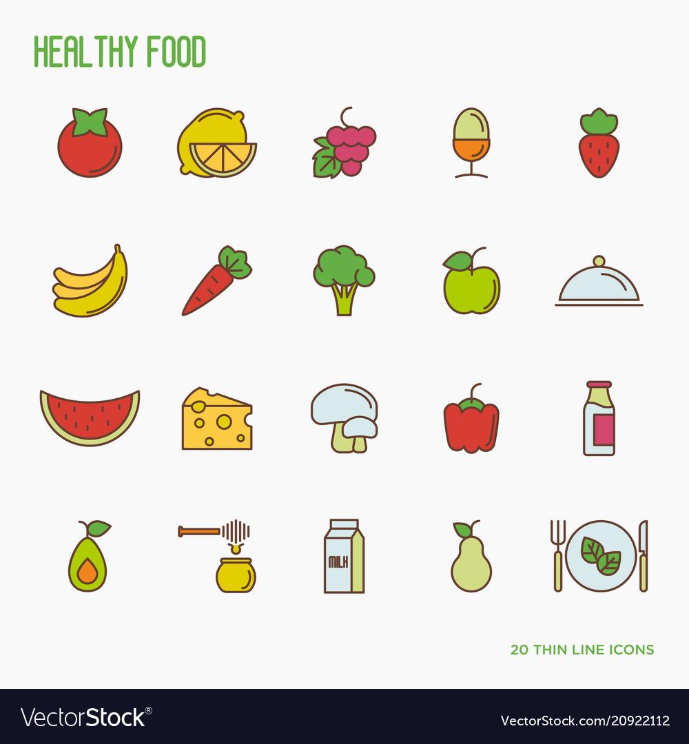 Organic food thin line icons