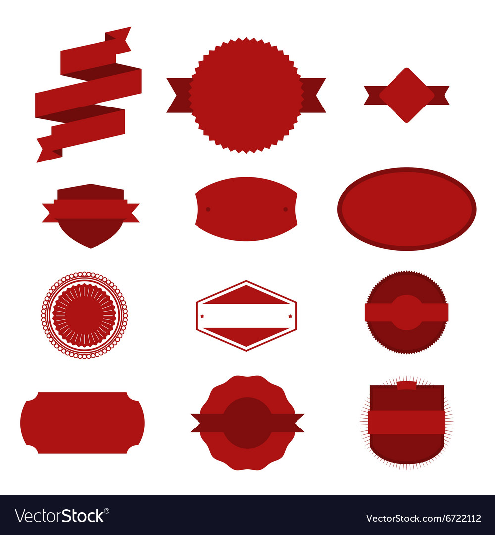 Red Christmas Labels Set on white Background