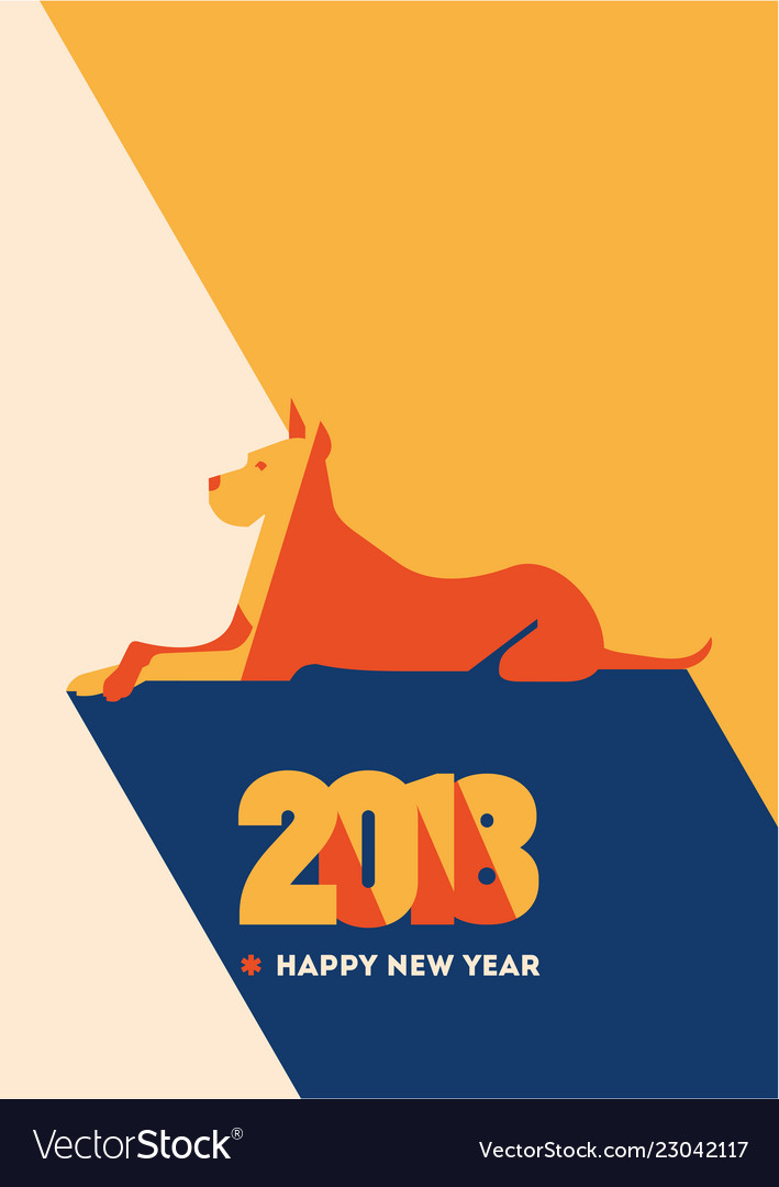 2018 happy new year of the dog greeting card