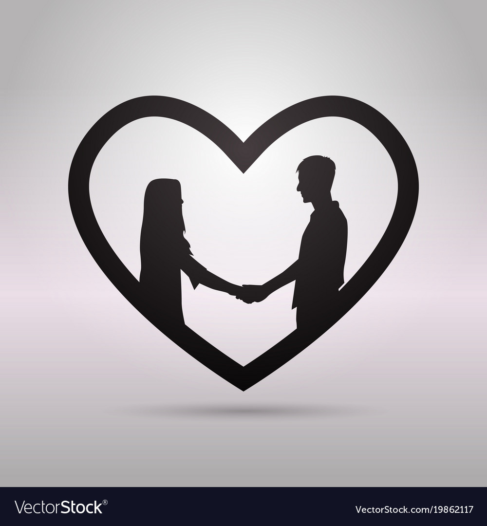 black silhouette couple holding hands in heart vector image