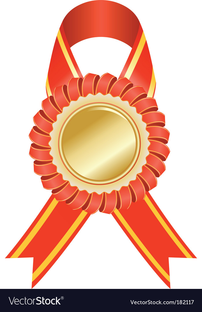 gold medal with red ribbon royalty free vector image