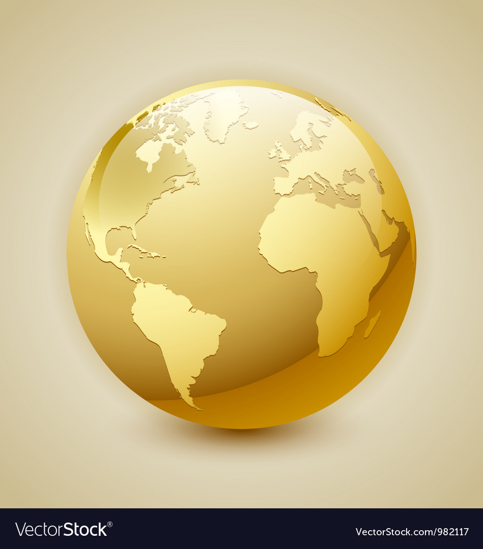 Golden Earth icon vector image