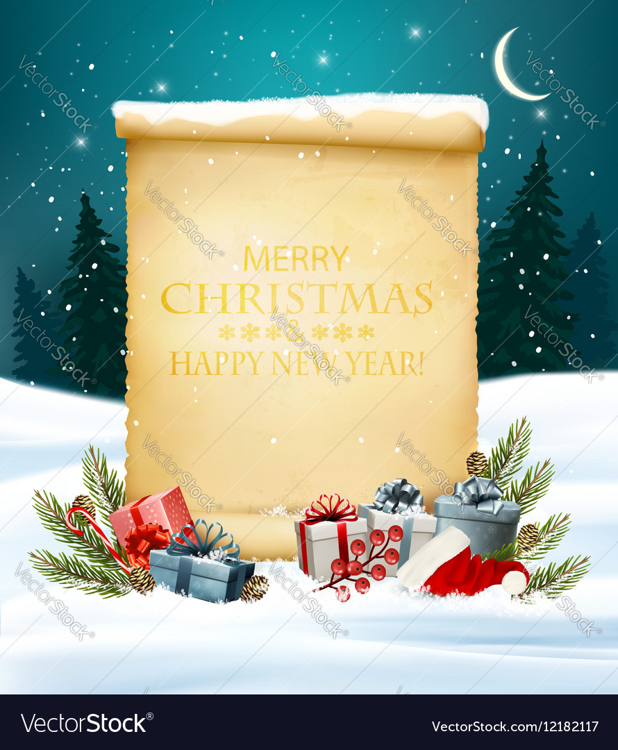 Holiday Christmas background with a gift boxes and