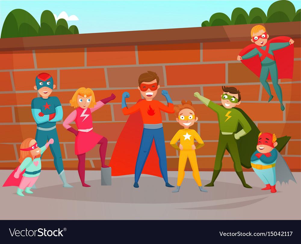 Kids team superheroes composition vector image