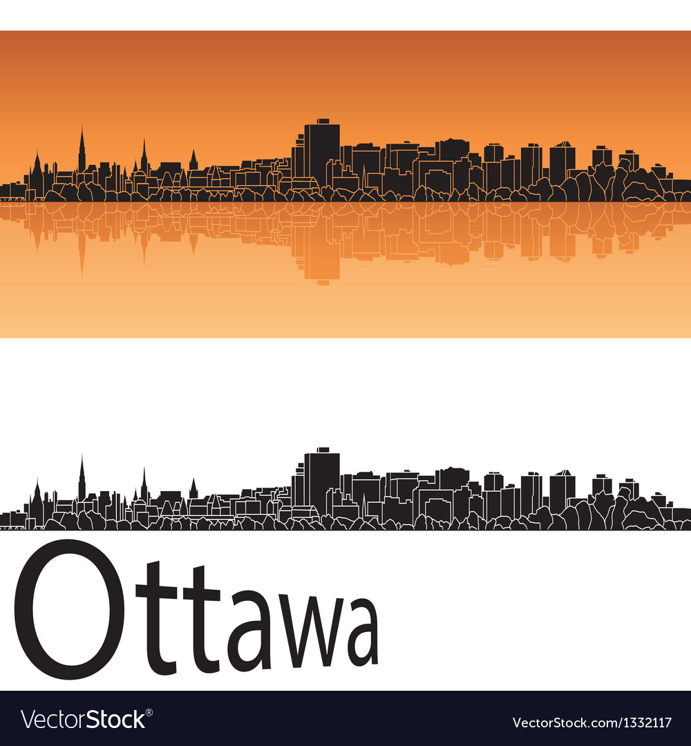Ottawa skyline in orange background vector image