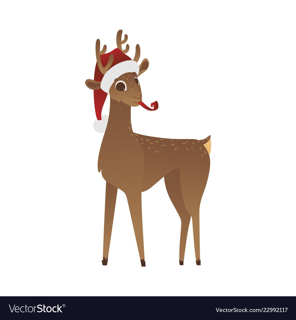 Reindeer in red santa claus