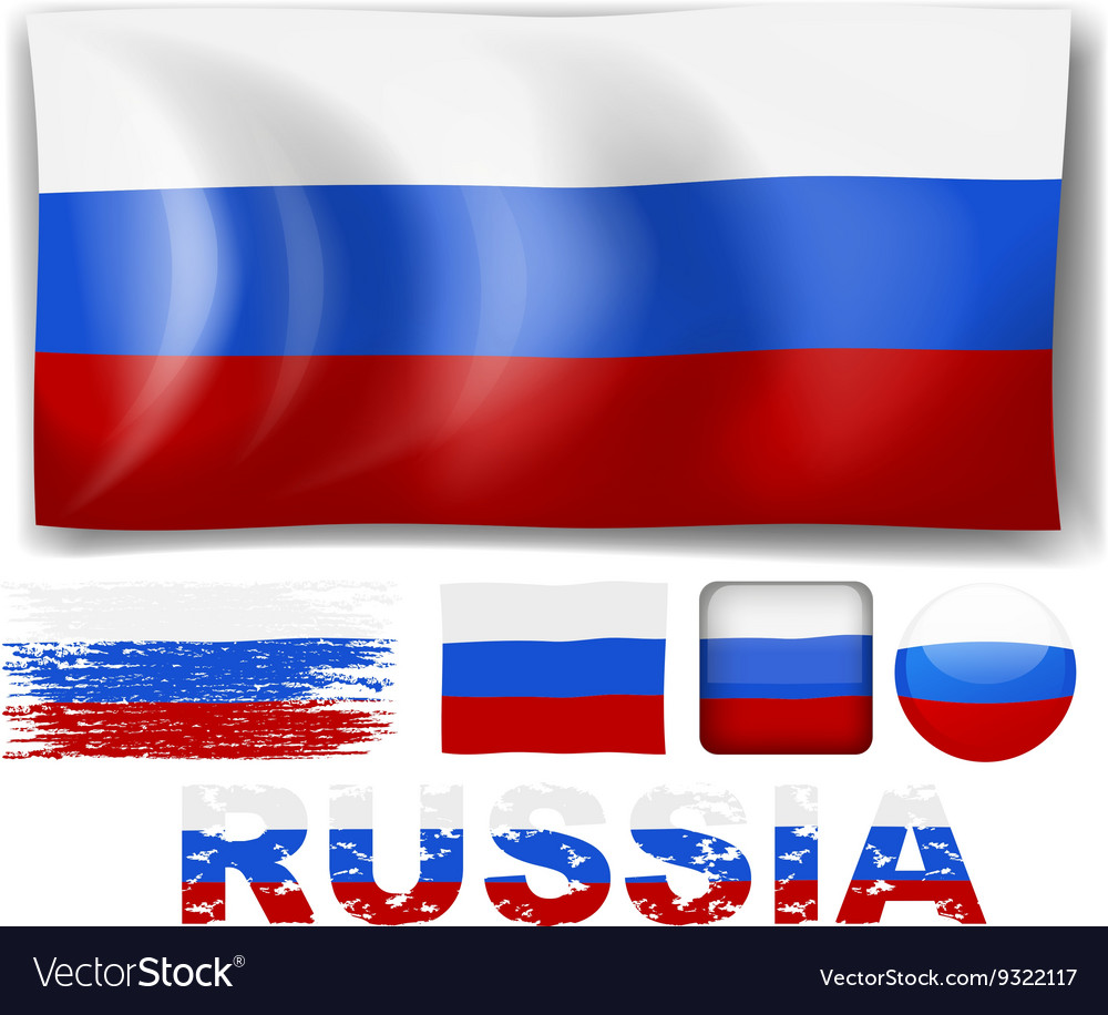 Russia flag in different designs vector image