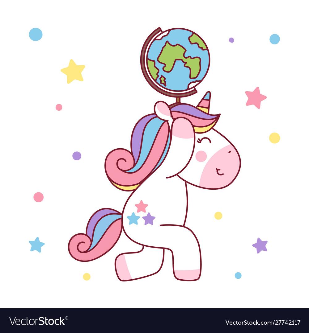 Unicorn holding up world globe