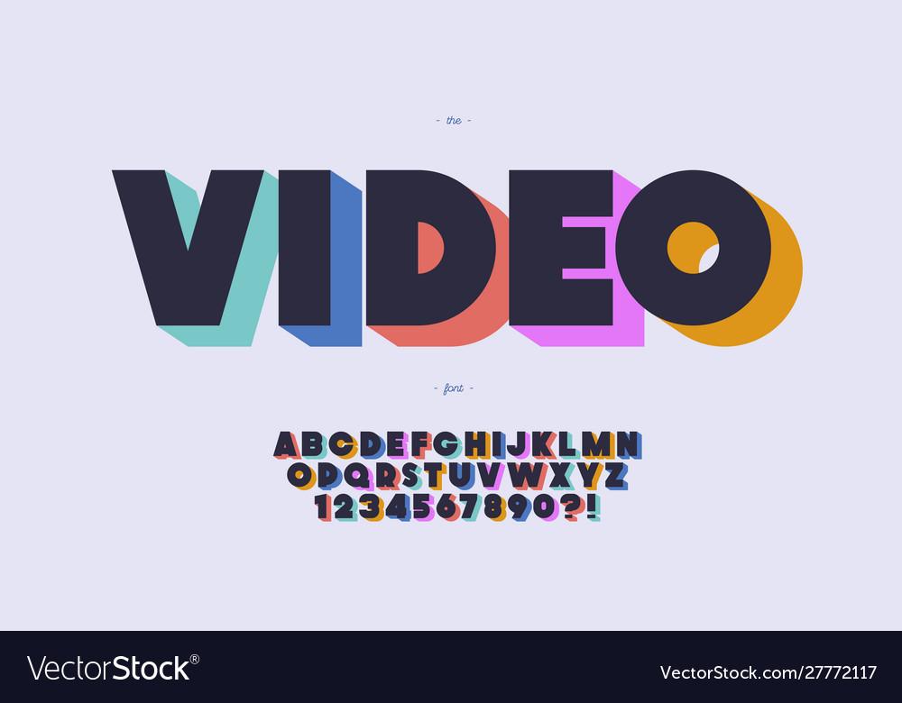 Video font 3d bold color style