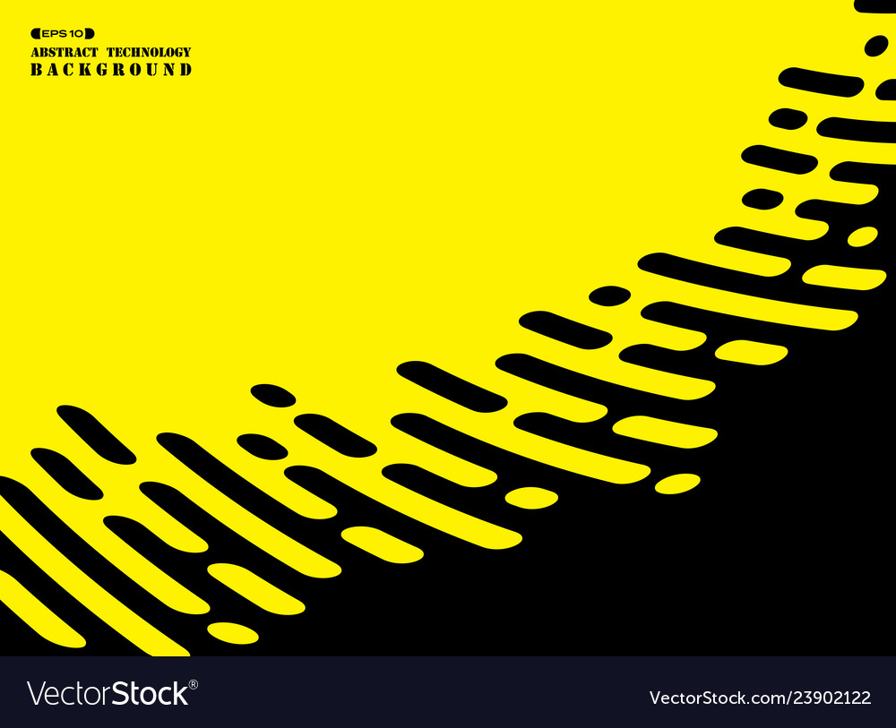 Abstract Stripe Line Of Black On Yellow Background