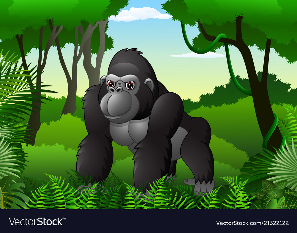 Cartoon gorilla in the thick rain forest