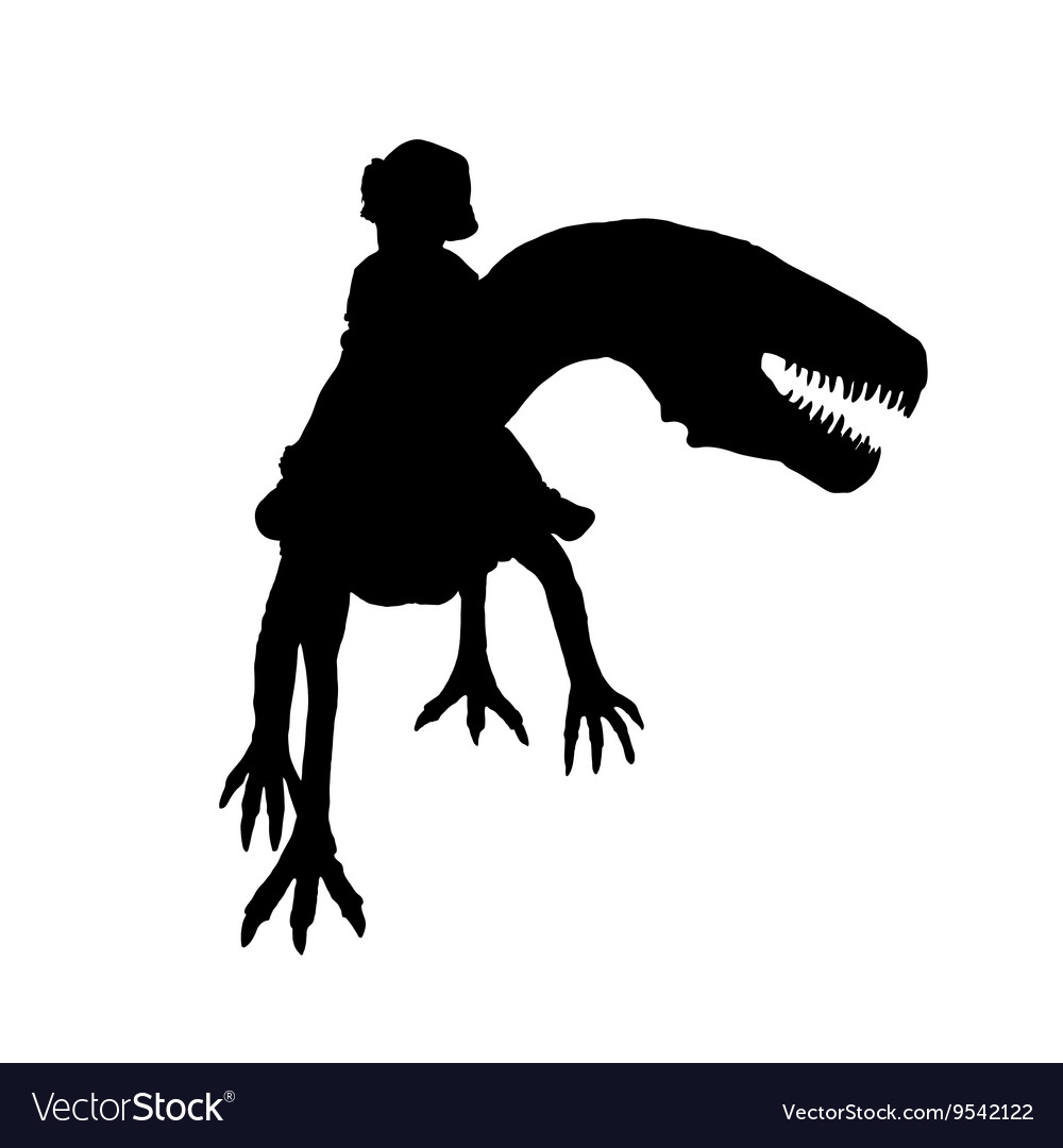 Child with dino silhouette vector image