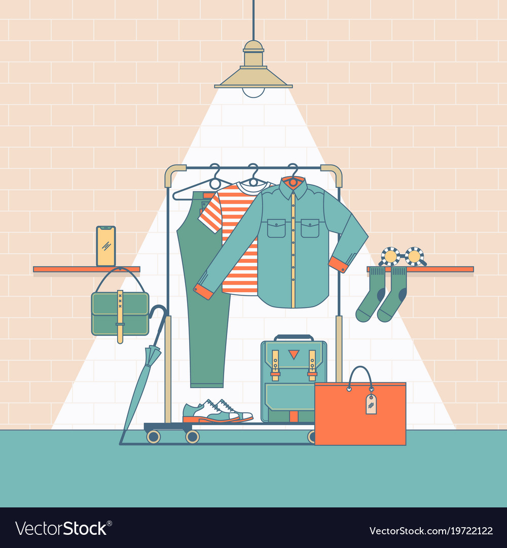 Clothes shopping concept in flat thin