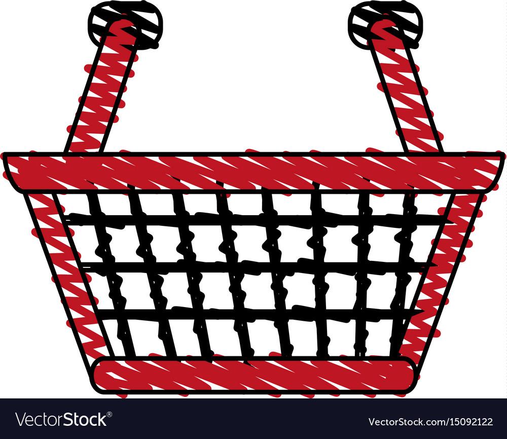 Color crayon stripe cartoon shopping basket with