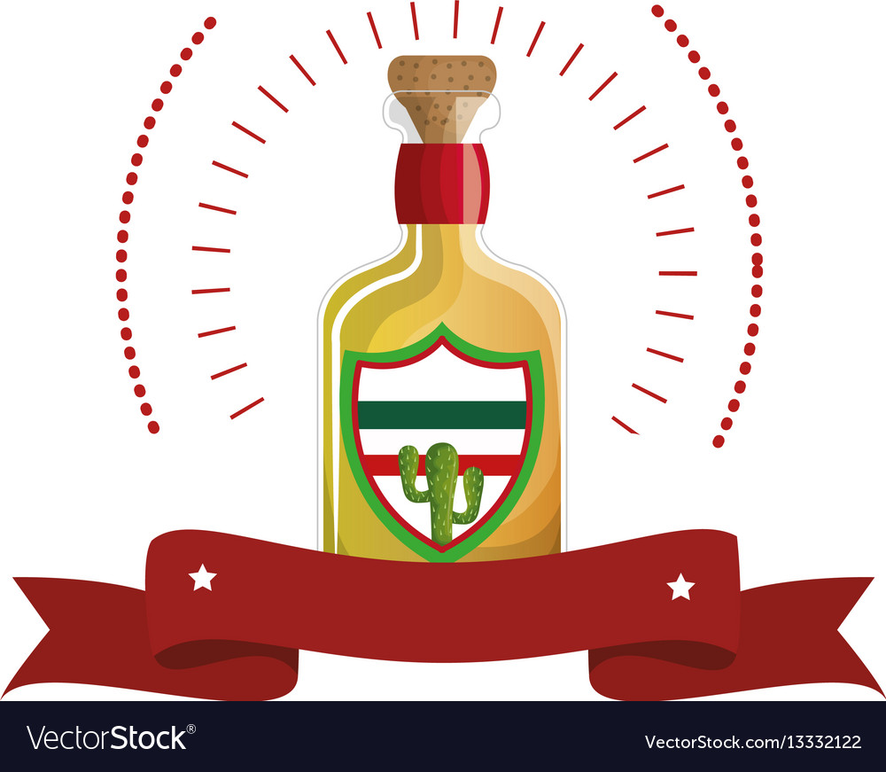 Colorful arch bottle of tequila with cork and vector image